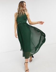 Read more about Style cheat belted high neck pleated midi dress in forest green