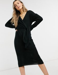 Read more about Style cheat emilia knit midi dress with tie in black