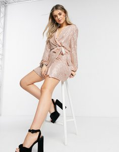 Read more about Style cheat sequin wrap tie mini dress with balloon sleeve in rose gold