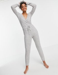 Read more about Style cheat soft wrap lounge jumpsuit in grey marl