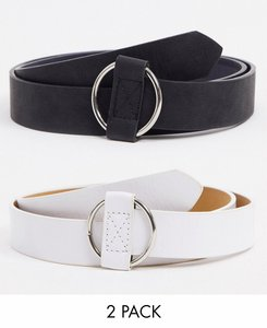 Read more about Svnx 2 pack belt with ring buckle in black and white-green