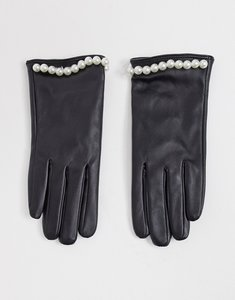 Read more about Svnx leather look gloves with pearl studs in black