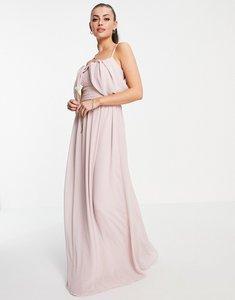 Read more about Tfnc bridesmaid drape shoulder asymmetric maxi dress in mink-pink
