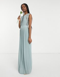 Read more about Tfnc bridesmaid lace insert plunge front maxi dress in sage-green