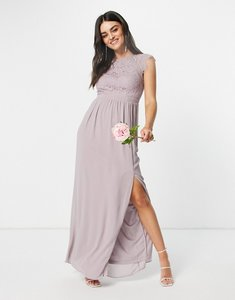 Read more about Tfnc bridesmaid lace open back maxi dress in grey