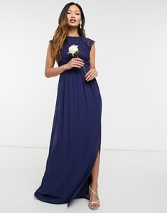 Read more about Tfnc bridesmaid lace open back maxi dress in navy