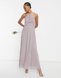 Read more about Tfnc bridesmaid pleated wrap detail maxi dress in grey