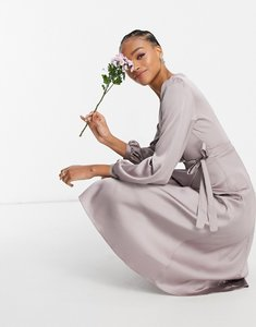 Read more about Tfnc bridesmaid satin long sleeve wrap front midi dress in grey