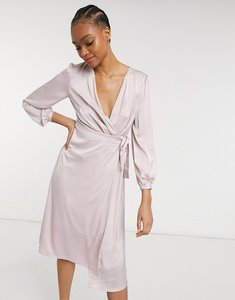 Read more about Tfnc bridesmaid satin long sleeve wrap front midi dress in mink-pink