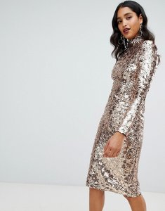 Read more about Tfnc high neck sequin midi dress in gold