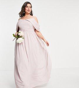 Read more about Tfnc plus bridesmaid drape shoulder asymmetric maxi dress in mink-pink