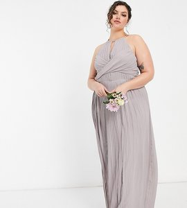 Read more about Tfnc plus bridesmaid pleated wrap detail maxi dress in grey