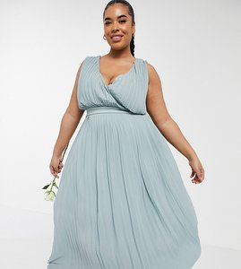 Read more about Tfnc plus bridesmaid pleated wrap front midaxi dress in sage-green