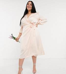 Read more about Tfnc plus bridesmaid satin long sleeve wrap front midi dress in light blush-white
