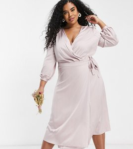 Read more about Tfnc plus bridesmaid satin long sleeve wrap front midi dress in mink-pink