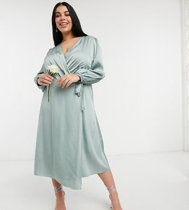 Read more about Tfnc plus bridesmaid satin long sleeve wrap front midi dress in sage-green