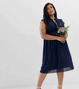 Read more about Tfnc plus lace detail midi bridesmaid dress in navy