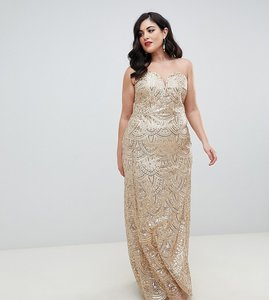 Read more about Tfnc plus patterned sequin bandeau maxi dress in gold