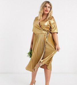 Read more about Tfnc plus wrap front pleated midi dress in gold