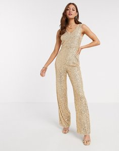 Read more about Tfnc sequin jumpsuit in gold