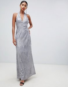 Read more about Tfnc sequin maxi dress with open back in silver
