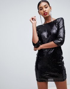 Read more about Tfnc sequin mini bodycon dress with lace scallop back in black