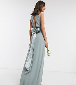 Read more about Tfnc tall bridesmaid cowl neck bow back maxi dress dress in sage-green