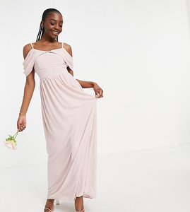 Read more about Tfnc tall bridesmaid drape shoulder asymmetric maxi dress in mink-pink