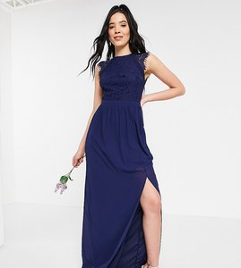 Read more about Tfnc tall bridesmaid lace open back maxi dress in navy