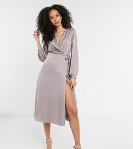 Read more about Tfnc tall bridesmaid satin long sleeve wrap front midi dress in grey