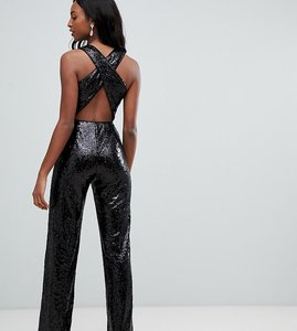 Read more about Tfnc tall sequin cross back jumpsuit in black