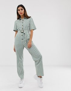 Read more about The east order gaia check jumpsuit with button down and belt-green
