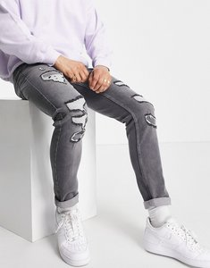 Read more about Topman rip and repair stretch skinny jeans in grey