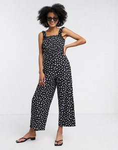 Read more about Topshop shirred jumpsuit in black floral-multi