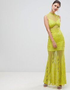 Read more about True decadence sheer lace maxi dress with high neck detail-green