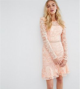 Read more about True decadence tall allover premium lace skater dress with fluted hem-pink