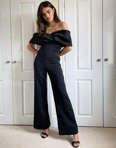 Read more about True violet drape off shoulder wide leg jumpsuit in black