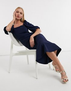 Read more about True violet exclusive puff sleeve square neck midi dress in navy