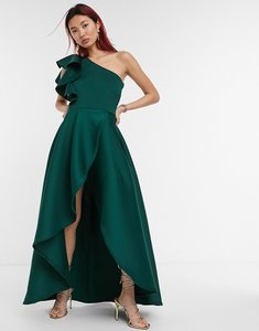 Read more about True violet frill one shoulder high low prom maxi dress in forest green