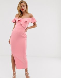 Read more about True violet off shoulder midaxi dress with drape frill-pink