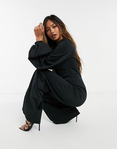 Read more about True violet plunge balloon sleeve wide leg jumpsuit in black