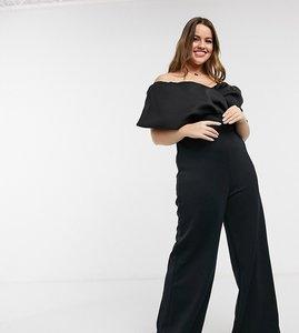 Read more about True violet plus drape off shoulder wide leg jumpsuit in black