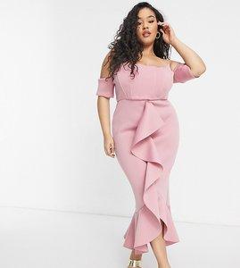 Read more about True violet plus exclusive bardot corset detail ruffle fishtail midi dress in winter blush-pink