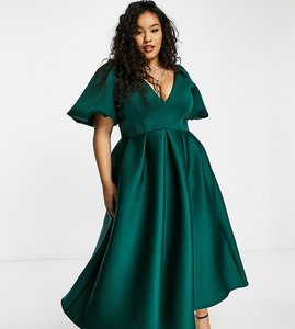 Read more about True violet plus exclusive prom skater midi dress in forest green