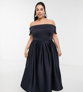 Read more about True violet plus folded bardot prom midi dress with pockets in navy