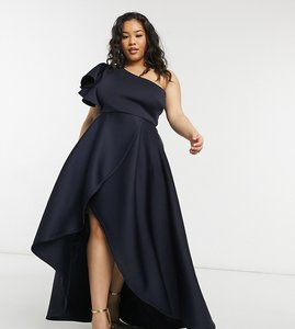 Read more about True violet plus frill one shoulder high low prom maxi dress in navy
