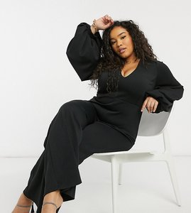 Read more about True violet plus plunge balloon sleeve wide leg jumpsuit in black