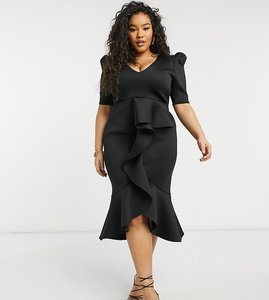 Read more about True violet plus puff shoulder plunge ruffle front midi dress in black