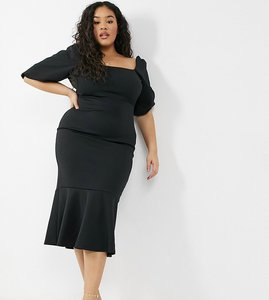 Read more about True violet plus square neck puff sleeve fishtail midi dress in black