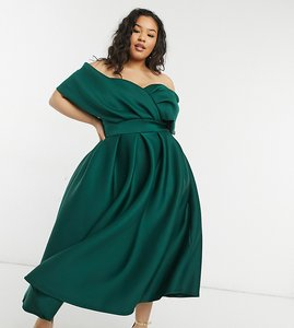 Read more about True violet plus wrap shoulder midi prom dress in emerald green